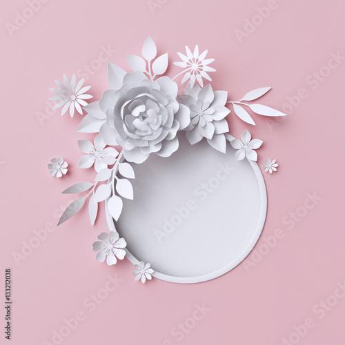 3d illustration, white paper flowers, pink pastel decorative floral