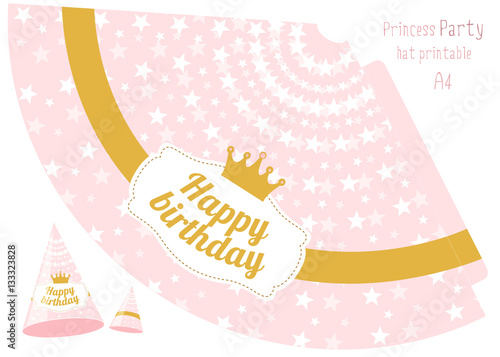 Party hats v printable Pink and gold princess party Print and cut