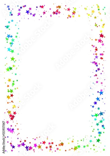 Abstract frame made of colorful stars on white background A4 paper