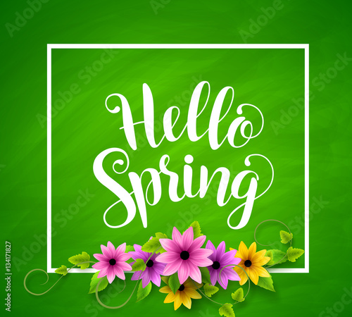 Hello spring vector banner design in green textured background with