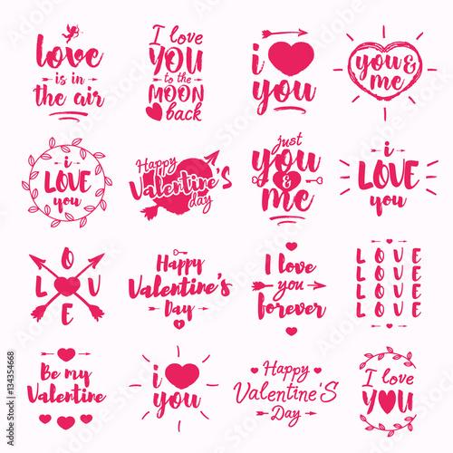 Happy Valentine\u0027s day label set with lettering typography wish