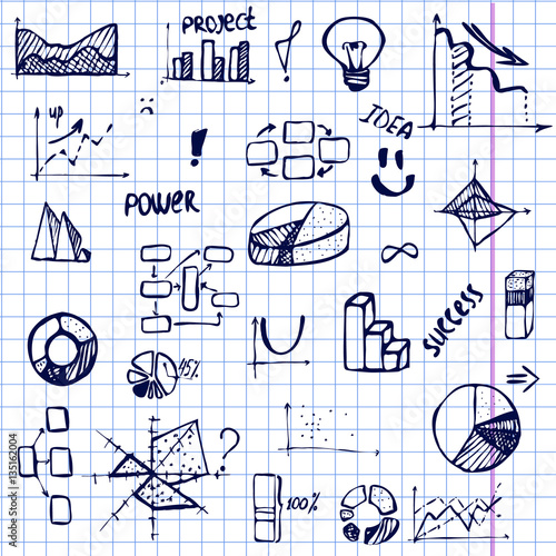set of hand drawing business diagram (histogram, pie chart, graph of