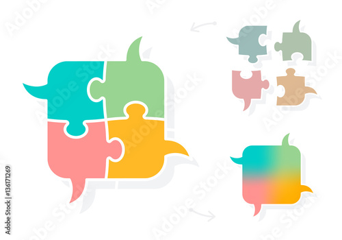 Brainstorming puzzle speech bubbles concept - Buy this stock vector