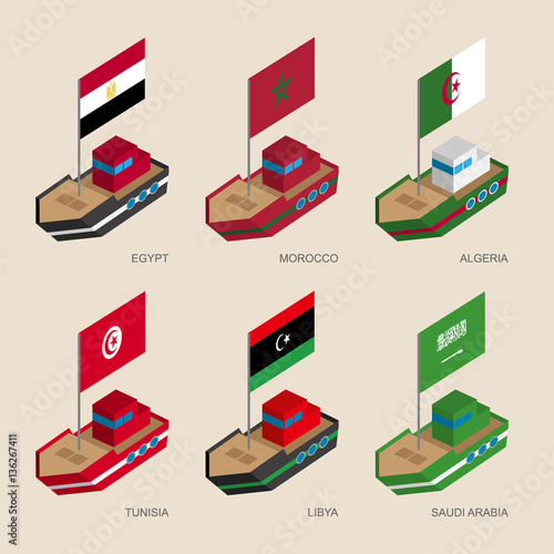 Set of isometric 3d ships with flags of Middle East countries