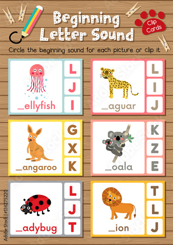 Clip cards matching game of beginning letter sound J, K, L for