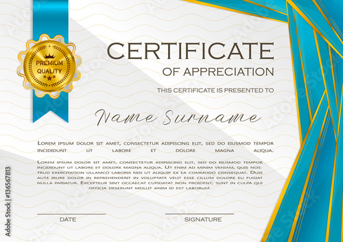 Qualification Certificate of appreciation, design Elegant luxury