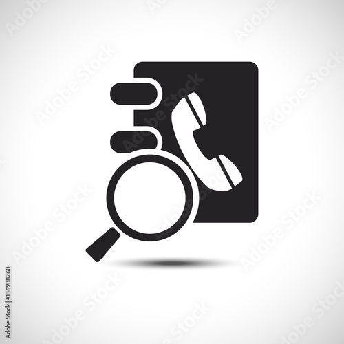Isolated Search Phonebook Address Book Flat Web Icon Vector Ic