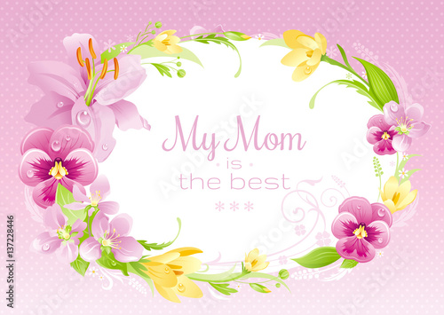 Spring background Happy Mothers day flyer Flower frame lily, pansy - mothers day flyer