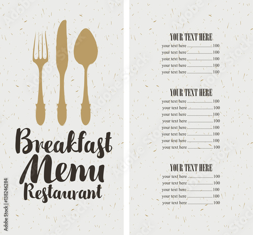 vector restaurant and cafe breakfast menu template with cutlery and