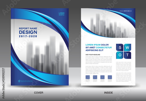Brochure template layout, Blue cover design, annual report, magazine