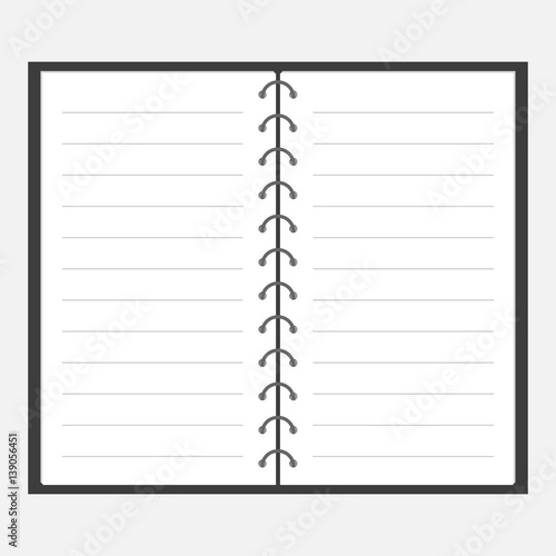 Open notebook with spiral and blank lined paper Lined template