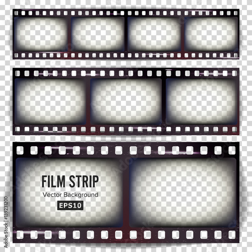 Film Strip Vector Set Realistic Frame Strip Blank Scratched
