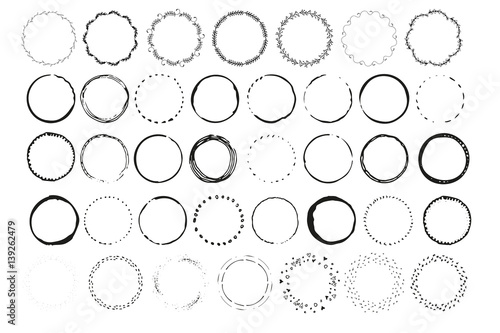 Big set of handdrawn elements with circles Round templates isolated