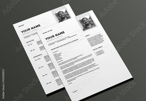 Modern Resume and Cover Letter Layout Buy this stock template and