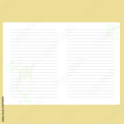 Template notepad Note book Space for text Paper for records