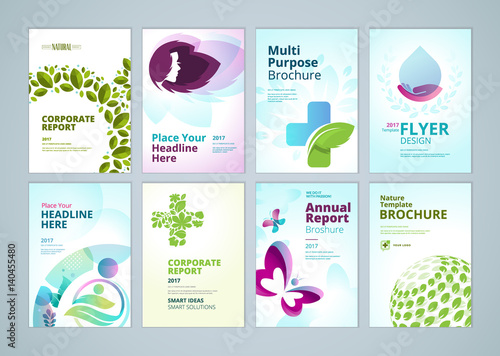 Healthcare and natural products brochure cover design and flyer - flyer layout templates