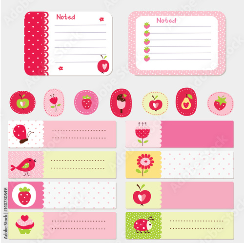 Set of baby cards and templates for scrapbook - Buy this stock