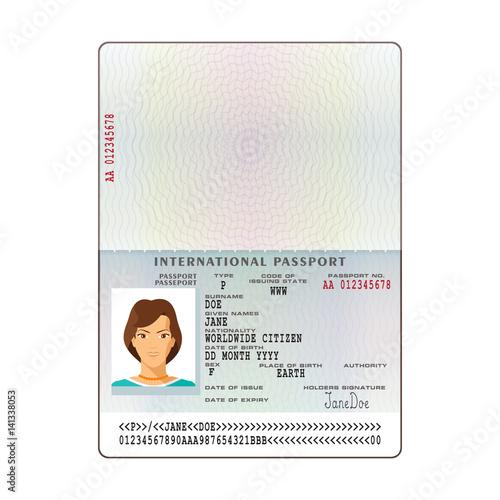 Vector international passport template with sample personal data - passport template
