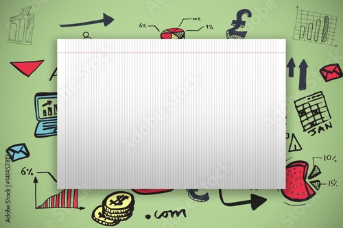 Composite image of single lined blank paper - Buy this stock photo