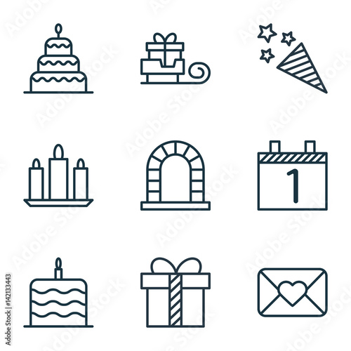 Set Of 9 Christmas Icons Includes Celebration Cake, Toboggan