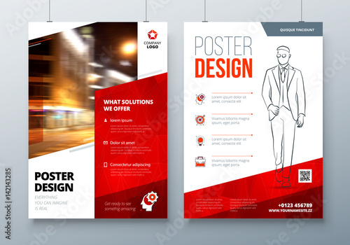 Poster design A3, A2, A1 Red Corporate business template for