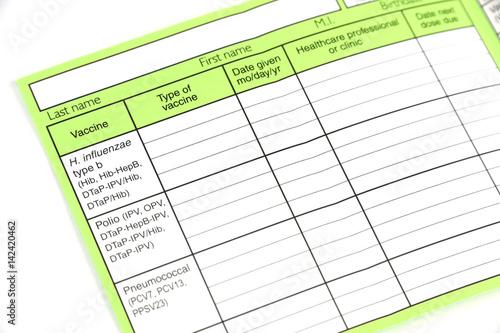 blank immunization record form isolated on white background - Buy