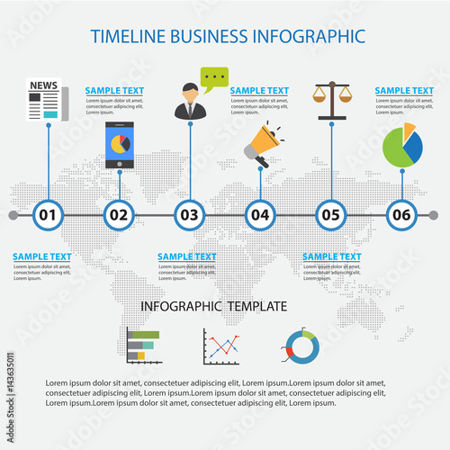 Colorful Timeline Business Infographic Template and Presentations