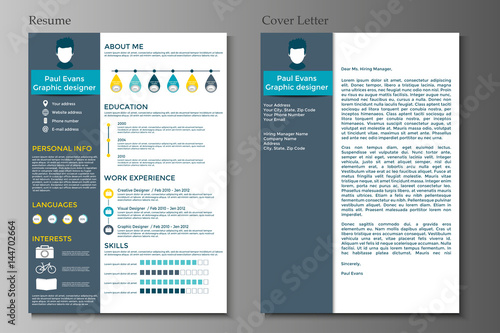Resume and Cover letter collection Modern CV set with Infographics