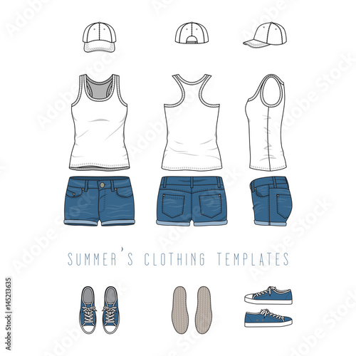 Vector illustration of female clothing set - white tank top, jeans - blank fashion design templates
