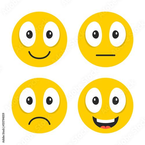 Emoji set Cute emoticons Happy, sad, neutral, laughing emoji