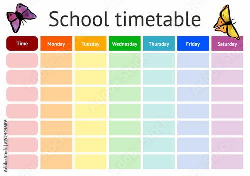 Vector school timetable, weekly curriculum design template - Buy