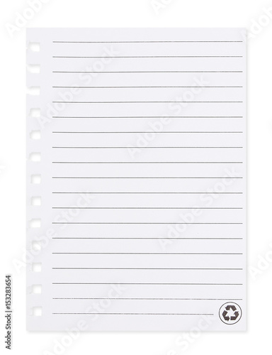 blank paper with lined pattern pages isolated on white background