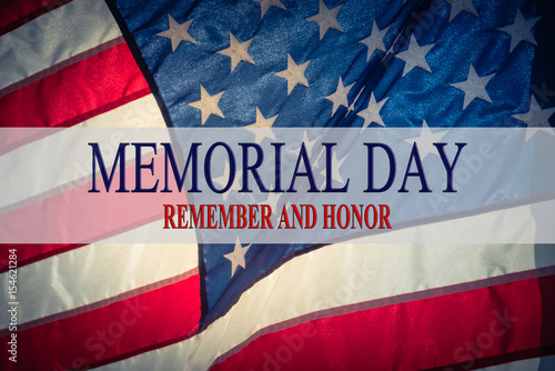 Text Memorial Day and Honor on flowing American flag background - America Flag Background