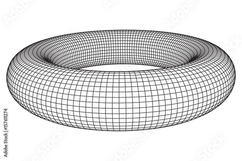 Abstract wireframe torus donut Vector technology background - donut template
