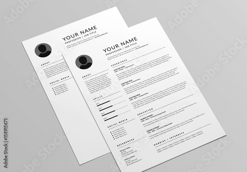 Classic Resume and Cover Letter Layout  Buy this stock template and