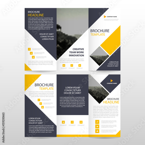 Yellow triangle business trifold Leaflet Brochure Flyer report