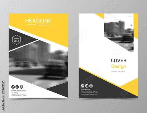 Yellow annual report cover, modern brochure design, business flyer