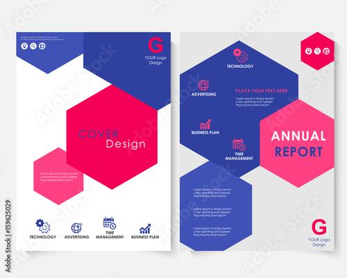 Color hexagon annual report cover design template vector Brochure