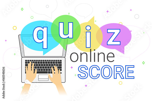 Online quiz interview and online high score game on laptop creative