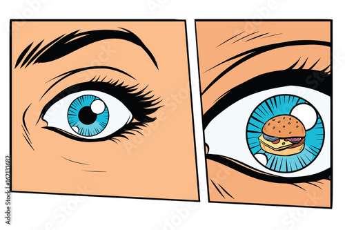 Comic storyboard hungry woman and Burger - Buy this stock vector and