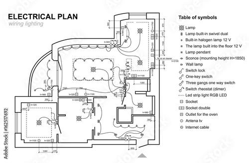 Plan wiring lighting Electrical Schematic interior Set of standard