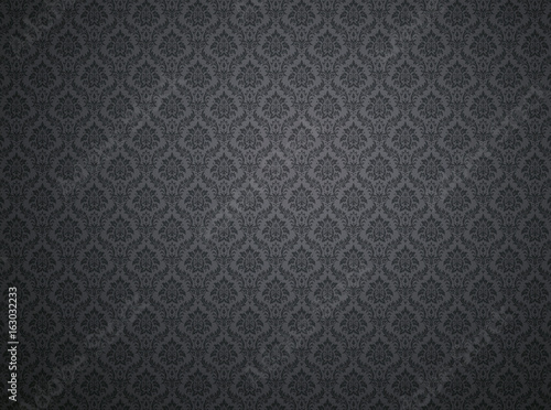 Black damask pattern background - Buy this stock photo and explore