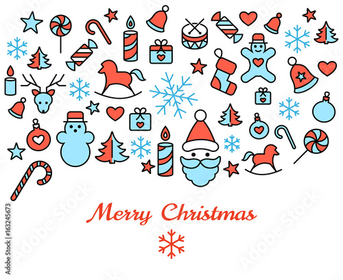 Digital vector red blue happy new year merry christmas icons with