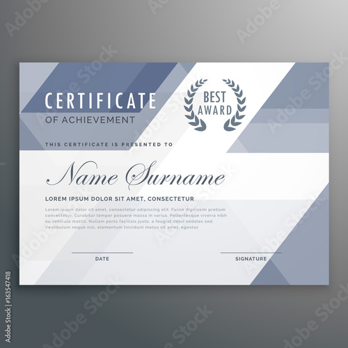 geometric certificate award template vector design - Buy this stock