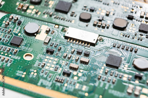 Computer motherboard components close up - Buy this stock photo and