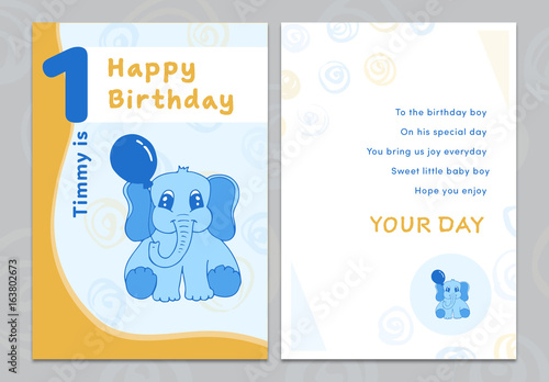 Cartoon Elephant Birthday Card Layout 1 Buy this stock template and - birthday card layout