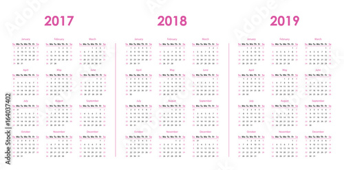 Calendar template for 2017, 2018, 2019 - Buy this stock vector and