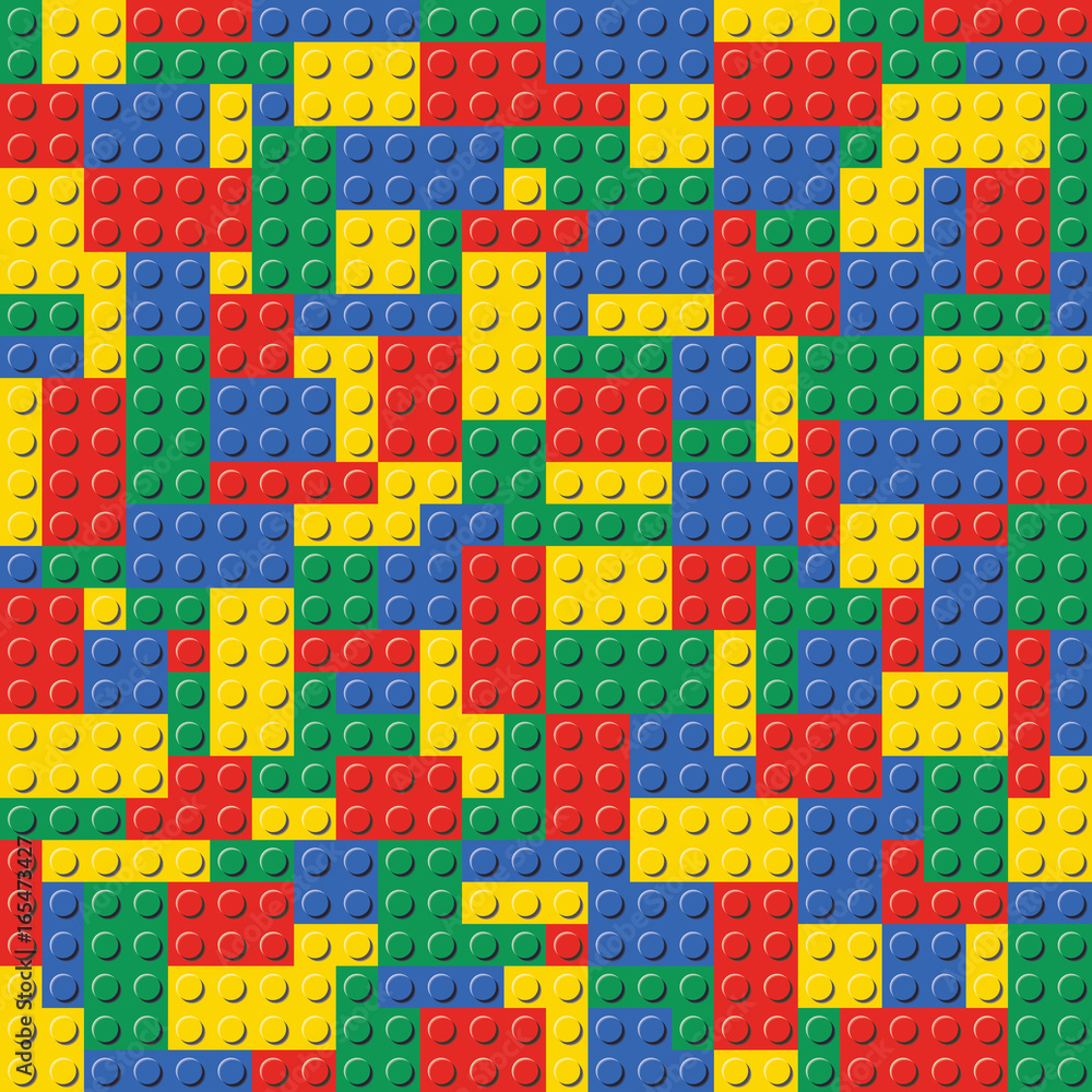 Fototapeten Lego Colorful Lego Brick Seamless Background Pattern Vector