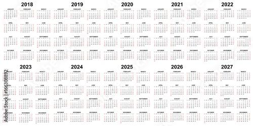 Ten year calendar - 2018, 2019, 2020, 2021, 2022, 2023, 2024, 2025