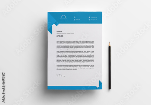 Business Letterhead Layout with Blue Accents 1 Buy this stock